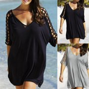 e82d70db27 Plus Size Womens Sexy Bathing Suit Crochet Bikini Swimwear Cover Up Beach  Dress