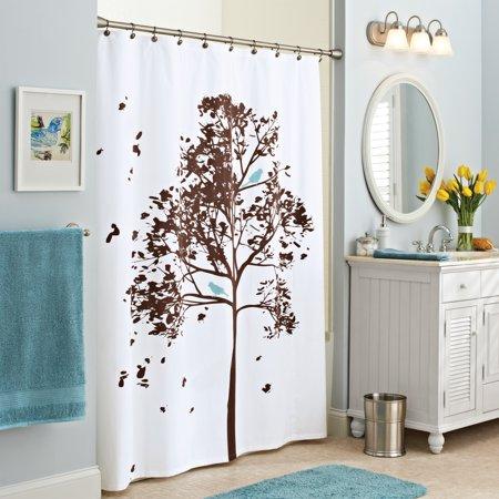 Better Homes And Gardens Farley Tree Fabric Shower Curtain Walmartcom