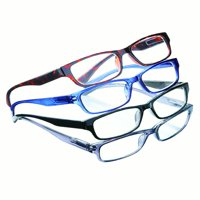 Classic Plastic Framed Reading Glasses - Comes with Black, Brown, Blue, and Gray - Set Of 4, 2.5X, Multicolored
