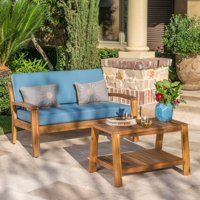 Wilcox Outdoor Acacia Wood Loveseat and Coffee Table Set with Cushions, Teak, Blue