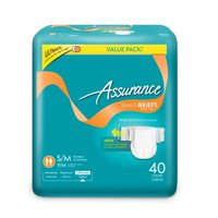Assurance Incontinence Stretch Briefs With Tabs, Unisex, Ultimate, S/M, 40 Ct