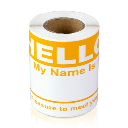 "OfficeSmartLabels 4"" x 2-5/16"" Hello My Name is Labels Name Tag (Orange, 100 Labels per Roll)"