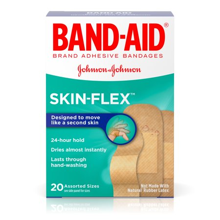 Adhesive Bandages (Band-Aid Brand Skin-Flex Adhesive Bandages, Assorted Sizes, 20 ct )