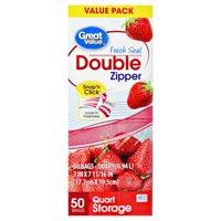 (2 Pack) Great Value Double Zipper Storage Bags, Quart, 50 Count