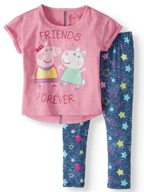 Peppa and Suzy Graphic T-Shirt and Capri Legging, 2-Piece Outfit Set (Little Girls)