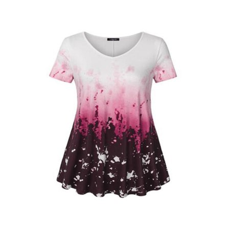 Women's Floral Short Sleeve Swing Loose T-Shirt ()
