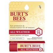 Burt's Bees 100% Natural All-Weather SPF15 Moisturizing Lip Balm, Water Resistant - 1 Tube