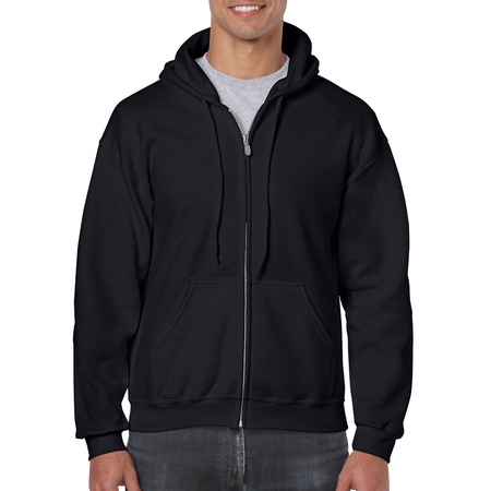 Gildan Men's Full Zip Hooded Sweatshirt (Black Tek Patch Hooded Sweatshirt)