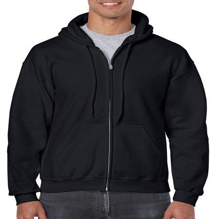 Black Zip Sweat - Gildan Men's Full Zip Hooded Sweatshirt