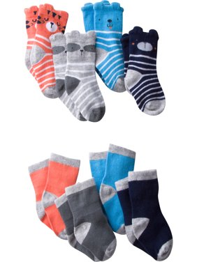 Baby Boy Wiggle-Proof Jersey Ankle Bootie Socks, 8-pack