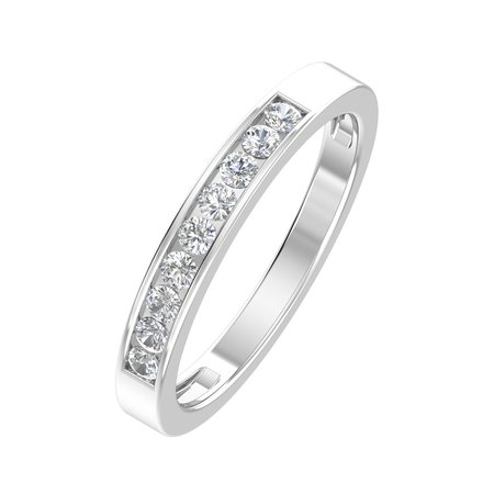 1/4ctw Diamond Channel Wedding Band in 10k - Bar Channel Diamond Band