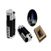 Cyclone Triple Flame Torch Lighter w/Retractable Bullet Cutter - Black & Chrome