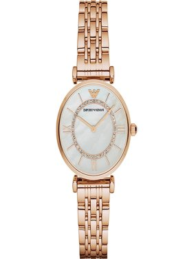 Emporio Armani Women's Retro Mother of Pearl Rose Gold-Tone Stainless Steel Watch AR1909