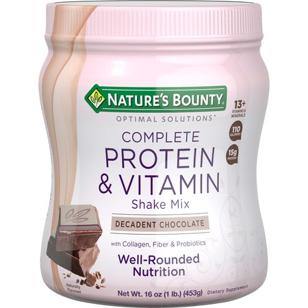 Nature's Bounty Optimal Solutions Complete Protein & Vitamin Powder, Chocolate, 15g Protein, 1