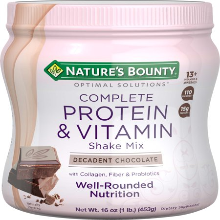 Nature's Bounty Optimal Solutions Complete Protein & Vitamin Powder, Chocolate, 15g Protein, 1 Lb ()