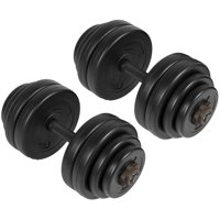 Best Choice Products 64lb Set of 2 Adjustable Weight Fitness Exercise Dumbbells for Bicep, Tricep, Body Workout w/ Barbell Plates, Screw Collars - Black