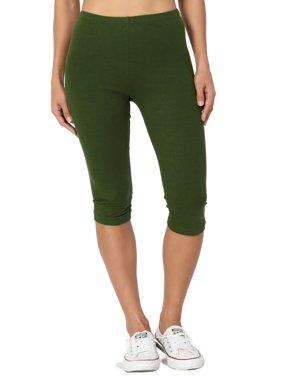 TheMogan Women's PLUS Basic Stretch Cotton Span Below Knee Length Capri Leggings