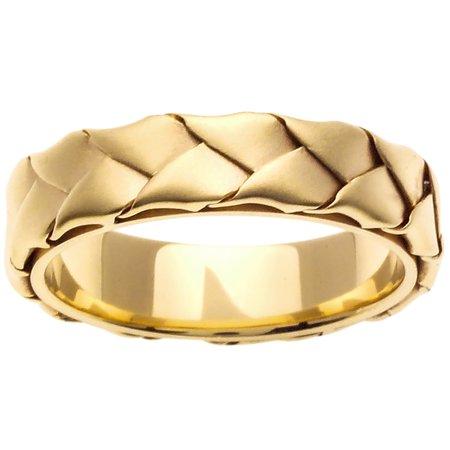 14K Gold Basket Braid Handmade Comfort Fit Women