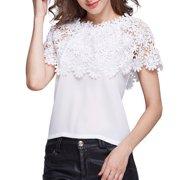 81c91183e1d3d0 VICOODA Plus Size Women Off Shoulder Tops Chiffon Floral Print Lace Top  Short Sleeve Crochet T