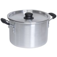 IMUSA Aluminum Stock Pot with Lid 8 Quart, Silver