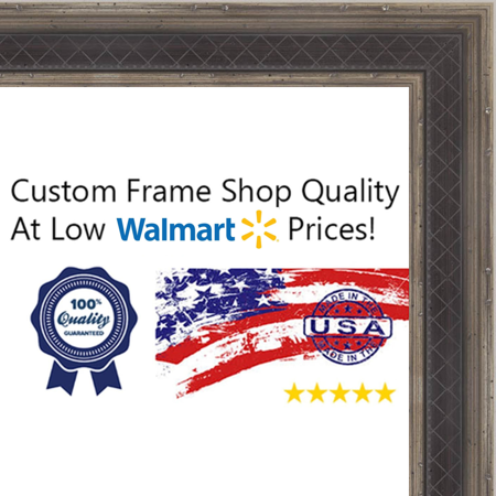 6x12 - 6 x 12 Antique Silver and Navy Solid Wood Frame with UV Framer's Acrylic & Foam Board Backing - Great For a