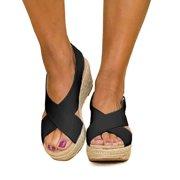 34af3f4f6939 Women Wedge Platform Sandals Espadrille Slingback Ankle Buckle Peep Toe  Summer Shoes