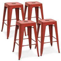 Best Choice Products 24in Set of 4 Stackable Modern Industrial Distressed Metal Counter Height Bar Stools - Red