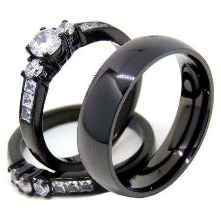 Couples Rings Black Set Womens 3 Stone Small Round CZ Engagement Ring Mens Traditional Wedding Band - Size W5M13 ()