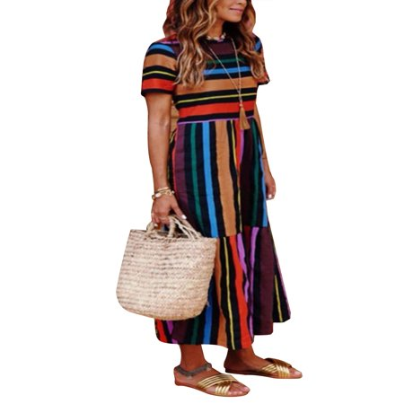 Boho Beach Dress for Women Colorful Stripes Long Maxi Sundress Summer Casual Evening Party Cocktail Holiday Dress - Halloween Store Long Beach