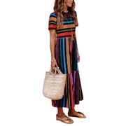 c38bfa69ec Boho Beach Dress for Women Colorful Stripes Long Maxi Sundress Summer  Casual Evening Party Cocktail Holiday