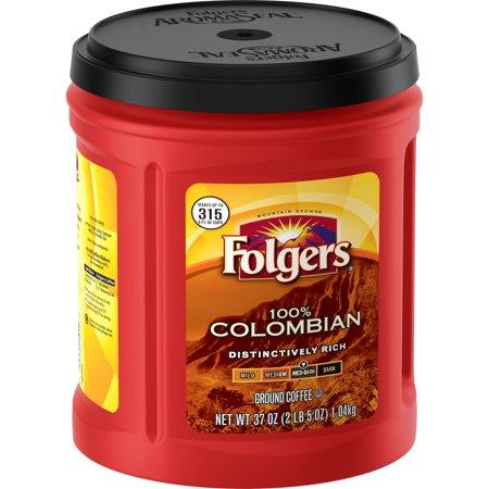 Folgers 100% Colombian Ground Coffee, Medium-Dark Roast, 37-Ounce