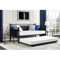 DHP Astoria Metal and Upholstered Daybed and Trundle, Black