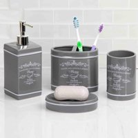 Home Basics Paris Gray Ceramic Bathroom Accessories 4 Piece Set