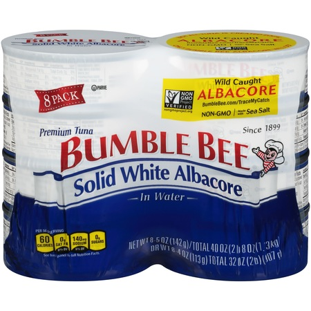 Offshore Tuna ((8 Cans) Bumble Bee Solid White Albacore Tuna in Water, 5oz, High Protein Food and)