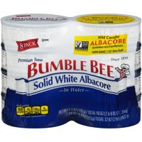 (8 Cans) BUMBLE BEE Solid White Albacore Tuna in Water, 5 Ounce Cans, Ready to Eat Tuna Fish, High Protein Food