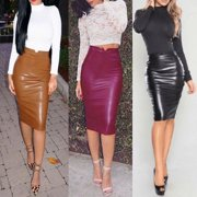 bb60c06002 Women Sexy Skirts PU Faux Leather High Waisted Back Split Bodycon Pencil  Skirt