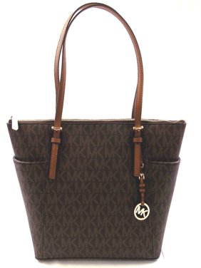 NEW MICHAEL KORS JET SET EAST WEST TZ BROWN TOTE SIGNATURE LEATHER HAND BAG