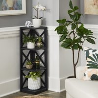 Deals on Weston Home Rebecca X-Frame 3-Shelf Corner Bookcase