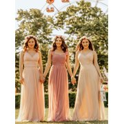 3e2330219dd Ever-Pretty Women s Elegant Long V-Neck Tulle Formal Evening Homecoming Prom  Party Bridesmaid