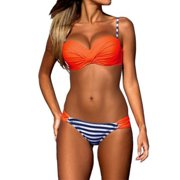 b315821dfae57 LELINTA Women s Two Piece Bikini Set Bandeau Top Scoop Bottom Swimsuits  Bathing Suits Five Color Size