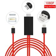 Lightning to HDMI, Lightning to HDMI Cable Adapter with 1080P Video Audio Output For iPhone, iPad and iPod Models, Mirror iPhone/iPad Screen to TV/Projector/Monitor, Plug and Play ( Red )
