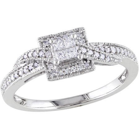 1/4 Carat T.W. Princess and Round-Cut Diamond 10kt White Gold Cross-Over Engagement