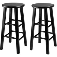 """Winsome Wood Pacey 24"""" Counter Stool, Set of 2, Black, Multiple Colors"""