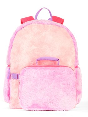Girls' Colorblock Fur Backpack With Lunch Bag