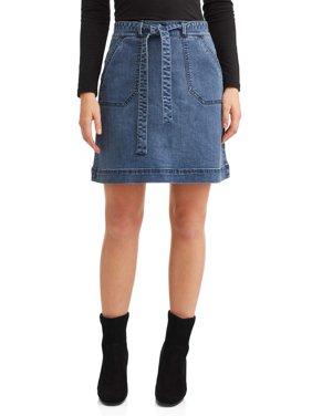 Women's Denim Tie Waist Skirt