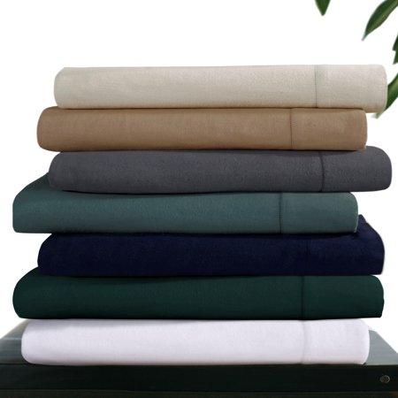 Heavyweight 200-GSM Solid Extra Deep Pocket Flannel Sheet Set Twin XL Aqua