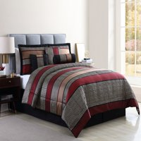 Mainstays Full or Queen Preston Woven Jacquard Red Comforter Set, 7 Piece