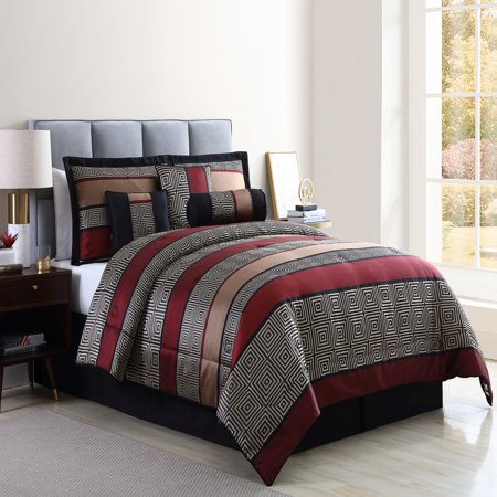 Mainstays Full or Queen Preston Woven Jacquard Red Comforter Set, 7 Piece - Gold Queen 7 Piece Comforter