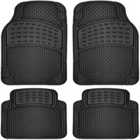 OxGord 4pc Rubber Floor Mats Universal Fit Front Driver Passenger Seat for Car SUV Van and Truck - Black