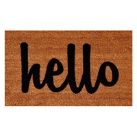 Hello Doormat Natural/Black Script